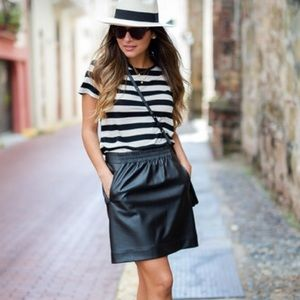 LOFT Faux Leather A-Line Skirt